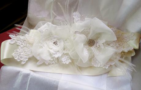<Finished Custom Bridal Sash @FancieStrands on Etsy alt=
