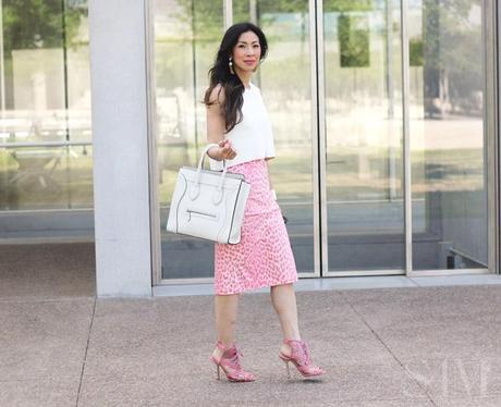 style of sam, moschino pink leopard skirt, white zara crop top, celine luggage bag, oscar de la renta pink heels, rachel zoe tassel earrings