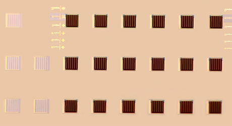Printing-based assembly process yields arrays of stacked multi-junction cells in a fully automated step-and-repeat mode with high yields and accurate overlay registration.