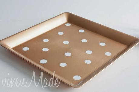DIY Gold & White Polkadot Tray