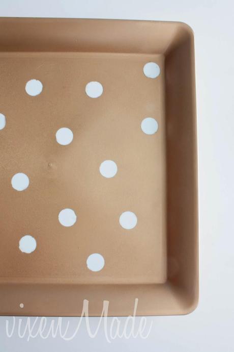 DIY Gold & White Polkadot Tray