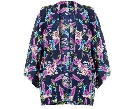 Pick Of The Day: Navy Tropical Print Crepe Kimono