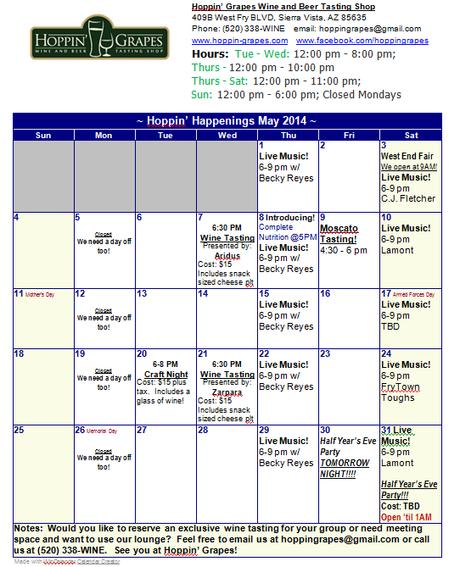 Hoppin' Happenings - May Calendar of Hoppin' Grapes Wine and Beer Tasting Bar and Retail Shop!