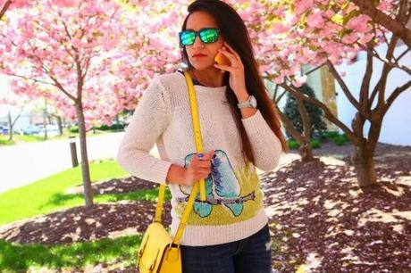 C.Wonder Sweater, GAP Jeans & Flats, Kate Spade Bag, Cherry Blossoms, Tanvii.com