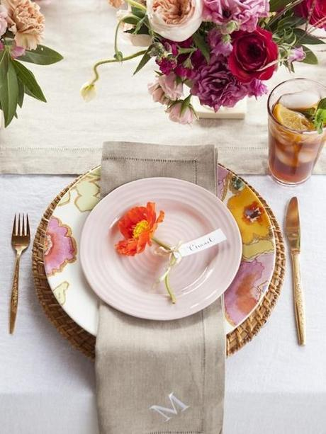 Mothers Day Pink Floral  Tablescape