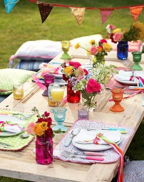Dining Al Fresco With Bright Flowers