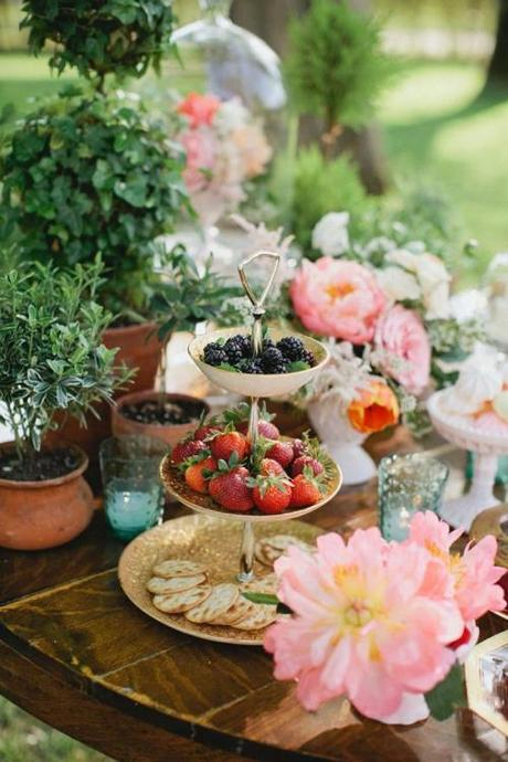 Tiered Tray with Fruit And Flowers Garden Party