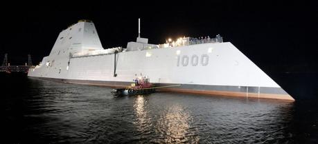 The USS Zumwalt (DDG 1000) after floating out of drydock, 28 October 2013
