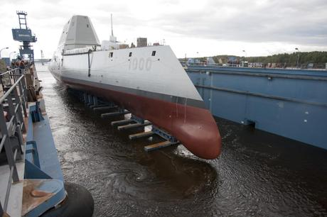 The USS Zumwalt (DDG 1000) in a dry dock at the General Dynamics Bath Iron Works shipyard in Maine.