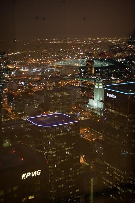 skyscraper LA venue with view of city