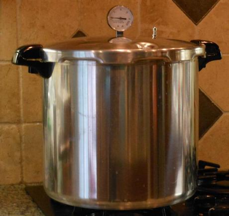 This is my pressure canner.  It's about as wide as my water bath canner, but it's a bit taller.  I bought mine through Amazon.  You can see it here.