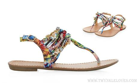 Pick Of The Day: Orange Rainbow Print Strappy Sandals