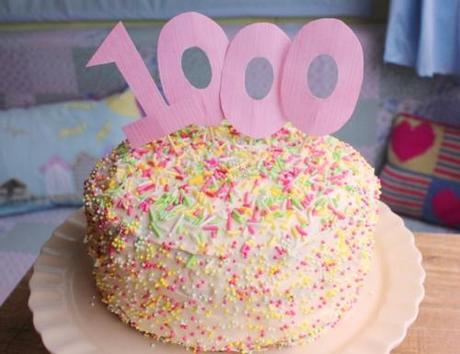 1000th blog post celebration cake for Cassiefairy