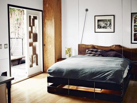 Wood slab headboard | Design by Funn Roberts, photo by Joe Pugliese.