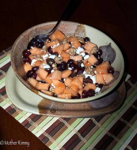 Fruit Salad with Cantaloupe, Grapes, Walnuts and Goat Cheese