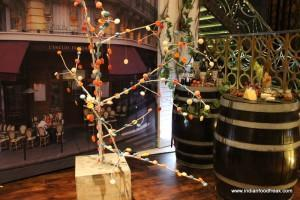 The edible Macaroon tree at the entrance of the restaurant