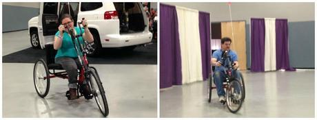 Emily and her father taking turns trying out a red Invacare Top End Excelerator Series Handcycle.