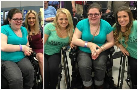 Emily posing with Tiphany Adams and Chelsie Hill from Push Girls, and Ali Stroker from Glee