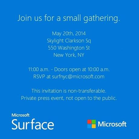 Microsoft's invitation for the unveiling of the Surface Mini