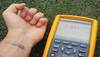 A thermoelectric generator developed as a wristband. The generator can be easily curved along with the shape of human body.