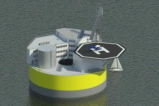This illustration shows a possible configuration of a floating offshore nuclear plant, based on design work by Jacopo Buongiorno and others at MIT's Department of Nuclear Science and Engineering. Like offshore oil drilling platforms, the structure would include living quarters and a helipad for transportation to the site.