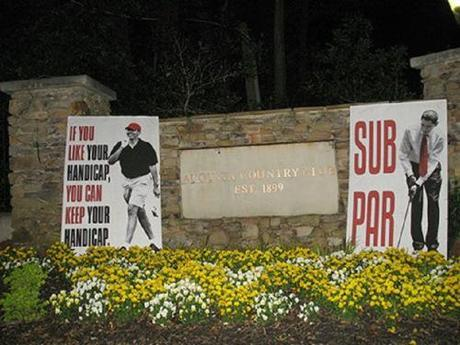 anti-Obama posters at golf tournament