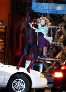 Andrew Garfield and Emma Stone on location for