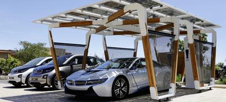 BMW develops a solar carport that generates electricity for the BMW i models