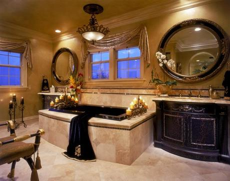 Mediterranean His and Hers Bathroom