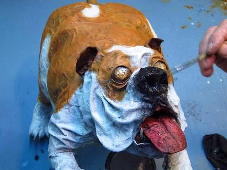 paper mache bulldog- paint nose