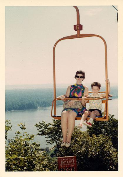 girl and mother on sky lift in 1969
