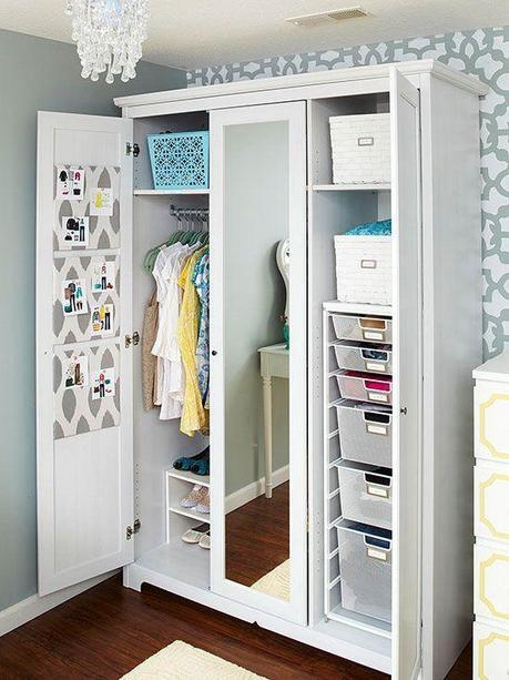 When it comes to hanging your clothing, if your space is lacking a built-in closet, a stand-in wardrobe can be just as effective.  By adding in shelving, baskets, shoe racks, drawer units and even pin-boards for outfit inspiration, you have a custom closet solution tailored to your personal needs.