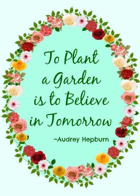 to plant a garden is to believe in tomorrow audrey hepburn