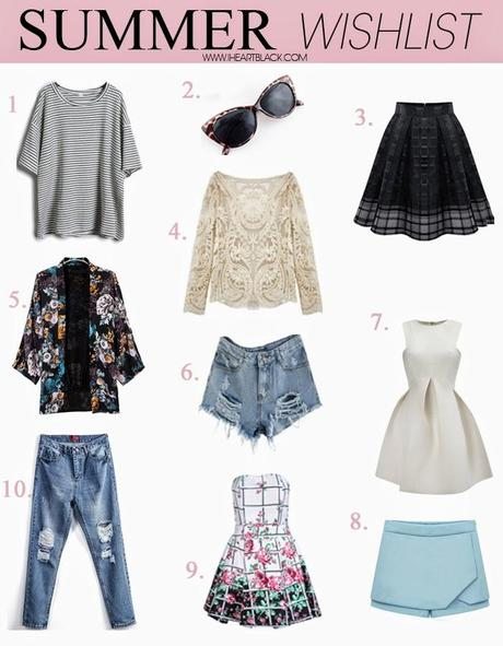 summer wishlist, summer must haves, staples, baiscs, fashion trends 2014, iheartblack, fashion blogger, style inspiration, Grey Short Sleeve Striped Loose T-Shirt, Leopard Cat Eye Sunglasses, Black Zipper Plaid Pleated Chiffon Skirt, Beige Long Sleeve Hollow Crochet Lace Blouse, Black Lapel Vintage Floral Loose Coat, Blue Mid Waist Ripped Denim Short, White Round Neck Sleeveless Flare Pleated Dress, Blue Mid Waist Chiffon Shorts, White Strapless Plaid Floral Ruffle Dress, Blue Bleached Ripped Pockets Denim Pant, sheinside, berlin