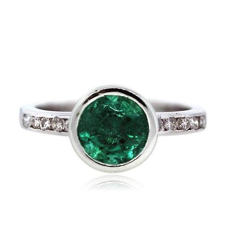 Bezel Set emerald engagement ring