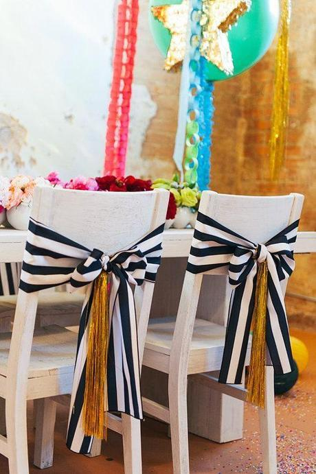 black and white chair sashes