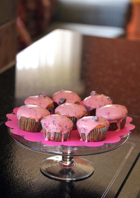 Low-Fat Vanilla Cupcakes with Drippy Mixed Berry Butter Cream