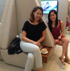 Waiting in their mini lounge before the facial started