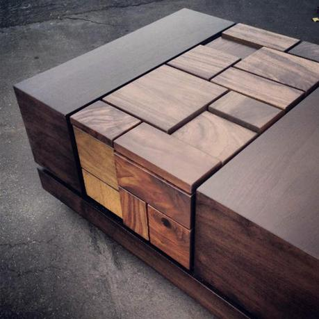 Abaci Dark Walnut II Coffee Table by Farzan Nemat