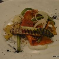 charred baby gem with summer vegetables