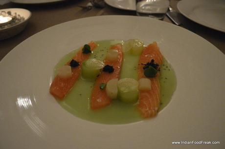 Cured Salmon with Green Apple water