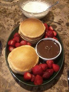 Recipe for a Tasty and Quick Breakfast: Pancakes, Strawberries, Chocolate Fondue and Whipped Topping
