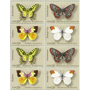 1977 BUTTERFLIES #1712-15 Block of 8 x 13 cents US Postage Stamps