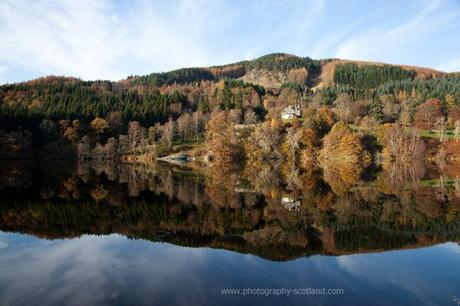Landscape photo - tranquil autumn reflections in Loch Tummel, near Pitlochry, Scotland