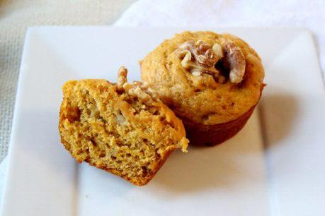 Food: Pumpkin Banana Muffins with Walnuts.
