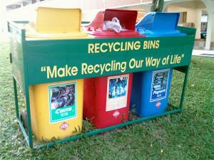 recycleBins 300x225 Saving Energy: The Benefits of Recycling Plastics, Aluminum, and Glass