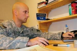 Veteran at computer