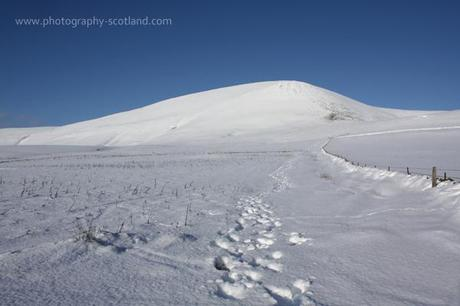 Landscape photo - footprints on Tinto hill in the Scottish borders