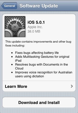 Apple releases iOS 5.0.1 update