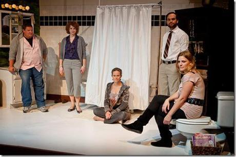 With hilarity and heartbreak, five young adults confront each other, the history they share and the actions that have created this crisis in SiNNERMAN Ensemble's Sweet Confinement, by Anna Carini, directed by Brea Hayes. From left to right, Caleb (Howie Johnson), Ginger (Anna Carini), Amy (Cyd Blakewell), Josh (Keith Neagle), and Amelia (Calliope Porter). Photo by Ben Chandler.